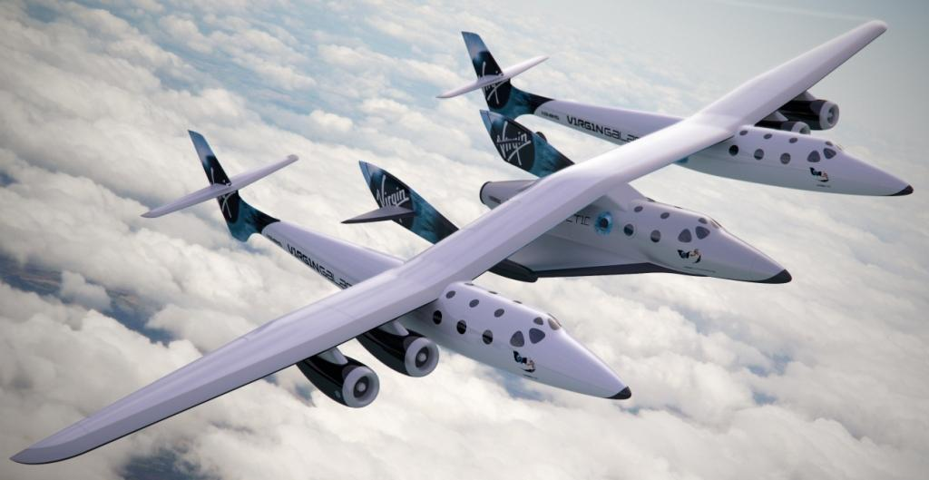 WhiteKnightTwo carries SpaceShipTwo between its two fuselages